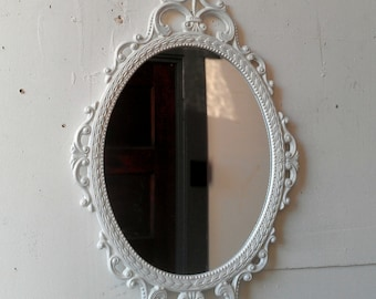 Small Bathroom Vanity Mirror, Ornate Oval White Mirror, 17x12 Vintage  Frame, French Country