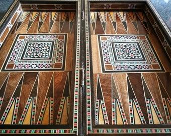 Handmade Oriental Luxury  Backgammon Tavla Schach Chess Inlay wood middle eastern craftmenship