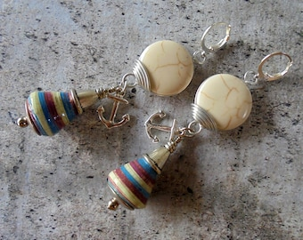 Rustic Red, White and Blue Nautical Earrings (4308)