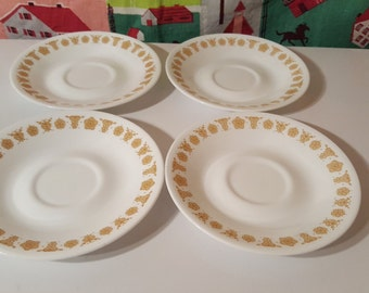 Set of 4 Correlle Butterfly Gold Saucers