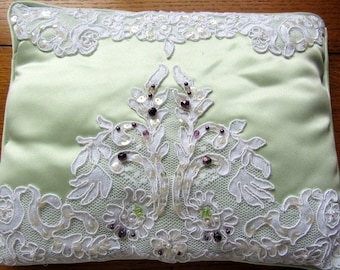 Ring Bearers Pillow Vintage Mint Green Satin, White Lace, Beaded