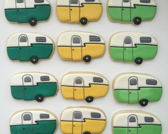 Camping Cookies, Camper Cookies, Camping Treats, Party Favors, Treat Bags, Birthday Cookies, Outdoor Cookies, Weekend Fun