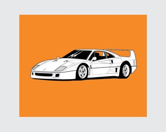 Ferrari F40 Art Print, 8x10 PRINTABLE, Sports Car, Instant Download, Digital