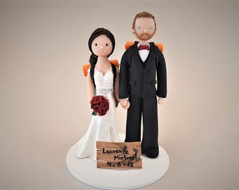 Bride & Groom Personalized Backpackers Wedding Cake Topper