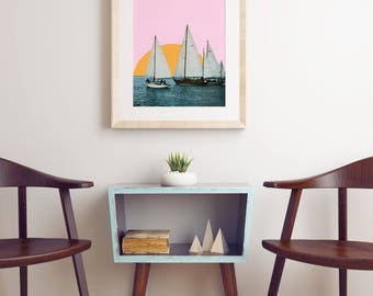 Boat Lovers Gift, Sail Boat Art, Pink and Orange Print - Into the Sunset