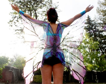 Butterfly Fairy Rave Festival Isis Wings in Blue and Purple