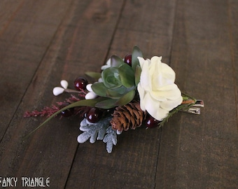 Handmade Left Side Rustic Winter Succulent, Pine Cone, White Rose, Dusty Miller Medium Sized Alligator Clip (faux floral)