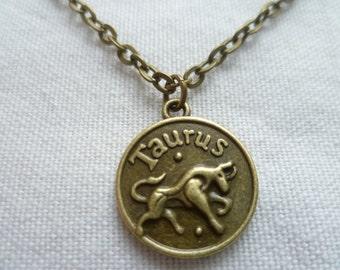 Taurus necklace,zodiac jewelry,personalised jewelry,zodiac necklace, birthday gift,horoscope star sign jewellery,handmade,taurus gift