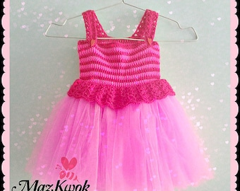 Crocheted Pinky baby tutu dress - free worldwide shipping