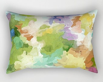 Green, Purple, Rectangular Pillow, Throw Pillow, Watercolor Pillow, Pastel Pillow, Art Pillow, Abstract Pillow, Lumbar Pillow, Couch Pillow