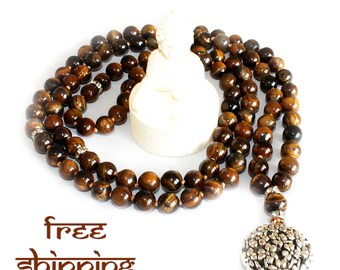 Japa Mala Hand Knotted 108 Gemstone Tiger Eye 10 mm Beads Prayer Yoga Necklace for Meditation and Mantra - Free Shipping