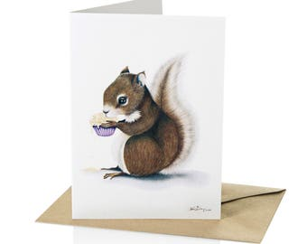 "A6 Greeting Card Squirrel ""Stolen Sweetness"""