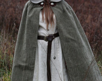 Moss Green Cloak with Leather Ties