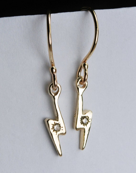 Gold & Champagne Diamond Lightning Bolt Dangle Earrings
