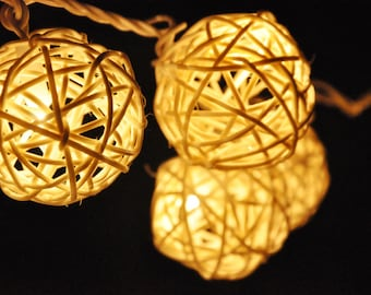 20 LED Bulbs Handmade Classic White Rattan ball string lights for Patio,Wedding,Party, Christmas Light, Party Lights and Decoration