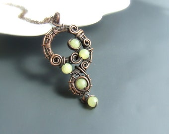 Green jade necklace, natural stone pendant, fairy rustic copper necklace, women jewelry gift