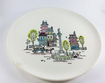 Vintage Metlox Poppytrail California Street Scene Chop Plate 13 Inch