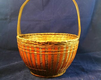 Vintage Ikebana Basket, unique hand-woven basket, Floral container