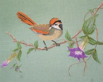 A Blyth paradoxornis cross-stitch Embroidery