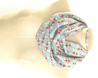 Blue Cat Infinity Scarf - Cat Circle Scarf - Cat Print Scarf