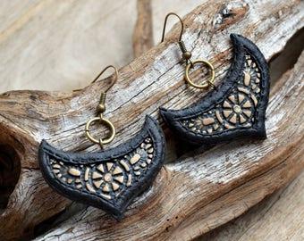 Black earrings Dangle earrings Unique earrings Unusual earrings Statement earrings Coworker gift Fashion earrings Polymer clay jewelry