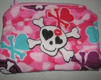 Skulls Skull crossbones hearts novelty handmade zipper fabric coin change purse card holder