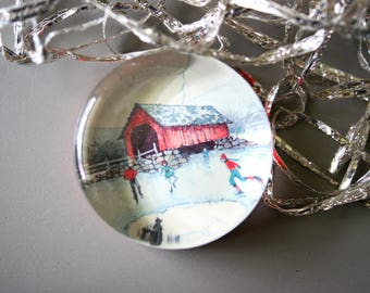 Vintage Glass Christmas Paperweight Red Covered Bridge Snow Scene Ice Skaters Holiday Office Gift for Co Worker by Norcross Removeable Base