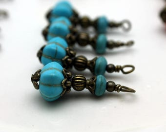 Vintage Style Turquoise Ribbed Melon with Turquoise Howlite and Brass Bead Dangle, Turquoise Charm, Earring Dangles, Bead Dangles