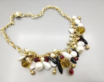 Ruby Red Jet Black and Milk glass Beaded  Fruit salad Necklace Eames Era beautiful glass