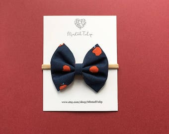 Navy and Red Apple Print Fabric Bow on Headband or Hair  Clip Baby Toddler Kids