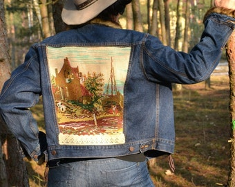 Upcycled denim jeans jacket hippie boho L XL denim recycled recycled clothing embroidered jacket