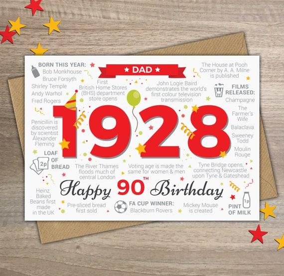 Celebrating 70th Birthday Quotes: Happy 90th Birthday DAD Greetings Card Born In 1928 Year Of