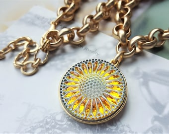 Sunny Sunflower, Feel Better Gifts, AA Quality Czech Glass Necklace Chunky Chain Gold, Orange and Yellow Glass Button Necklace  veryDonna