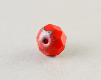 Red Bead, Czech Glass, 8mm Picasso Bead, One