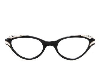 Liberty Optical Vintage Black Shell Jeweled Cat Eye 1950's - 1960's Eyeglasses