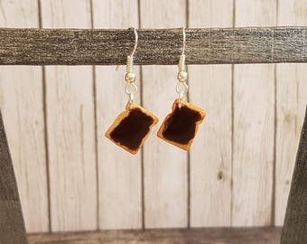 Chocolate bread in polymer clay earrings