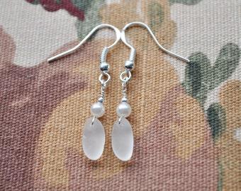 Genuine Sea Glass Beach Earrings Sterling Silver in White 6342