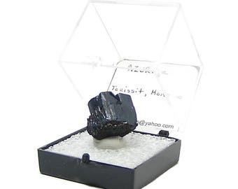 Azurite Blue Crystal Thumbnail Mineral Specimen from an estate geo collection mined in Morocco in museum display box, African Copper Mineral