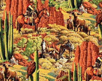 Cowboy Scenic Fabric, Home on the Range Desert Landscape, Arizona Desert Fabric, Western Cowboy Fabric, 01232A