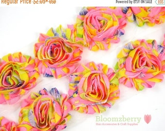 "SALE 30% OFF 2.5"" Printed Shabby Rose Trim - Neon Pink/Yellow Floral - Pink Shabby Rose Trim - Floral Shabby Rose Trim -Hair Accessories Sup"