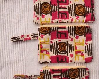 Woodin African Print Make Up Bags (Set of 3)