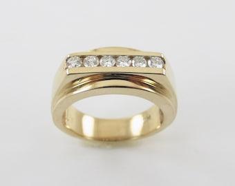 14k Yellow Gold Men's Diamond Wedding Band Ring - Elegant Diamond Ring