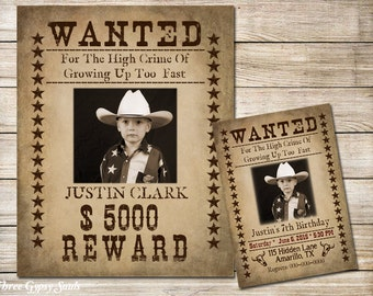 Wanted Poster - Wanted Birthday Invitation Printable - Western Birthday - Western Invitation - Cowboy Birthday