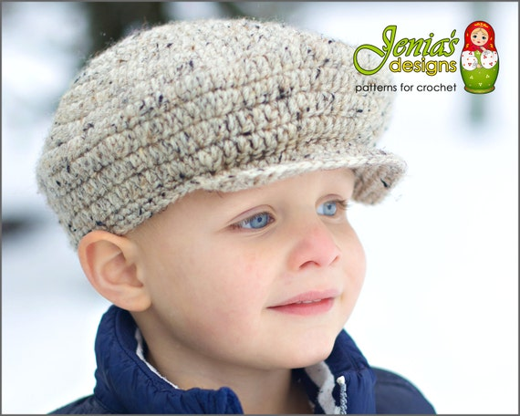 Crochet Pattern Scally Cap Newsboy Hat For Baby Infant Toddler