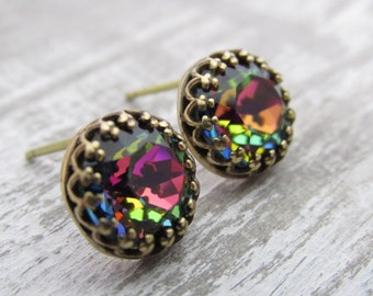 Rainbow Stud Earrings, Swarovski Crystal Earrings, Colorful Rhinestone Earrings, Aurora Borealis Colored Earrings, Small Stud Earrings