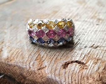 14k white gold vintage Sapphire and Diamond Harlequin ring