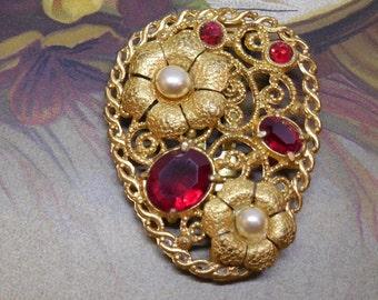 Vintage Filigree & Red Rhinestone Dress Clip or Brooch    NM9