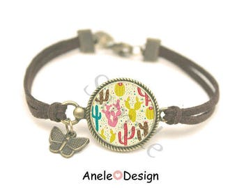 Cactus pink green yellow - brown bracelet tropical the spring was
