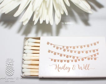 Cheers Wedding Favors | Personalized Matchbox | String of Lights Bride Groom Party Favors | social graces and co