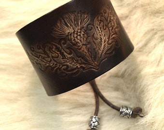 Scottish thistle leather wrist cuff